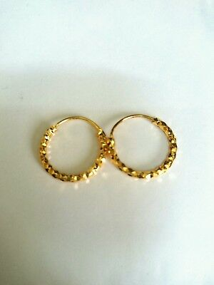 22K Gold Plated Indian Hoop Earrings
