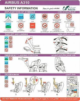 Safety Card MAHAN AIR Airbus A310 July 2014 *Rare* Original Iran NEW NEU
