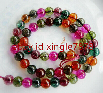 """Natural6mm Multicolored Round Tourmaline Gemstone Loose Beads 15"""" Strand AAA+"""