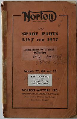 Norton 77, 88 and 99 Spare Parts List for 1957