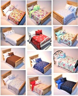 "Dolls House Bedding Set -1/12 Accessory Handmade -Standard Double(5""-5.5""W size)"