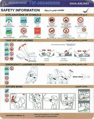 Safety Card SAHA AIR Boeing 737-300/400/500 **NEW** Form No.1 1st Edition Iran