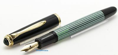 Pelikan 400 NN  rare Merz & Krell green striped with 14 c EF nib 1973