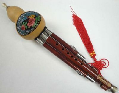 Sandalwood 3 Octaves Chinese Hulusi Flute Woodwind #106 + Case + How to Play Gui