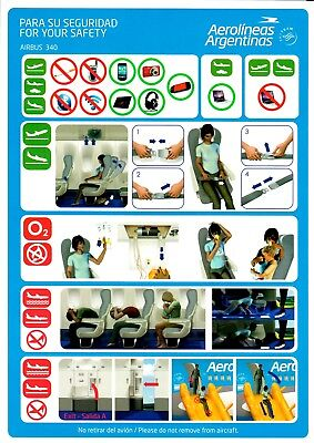 Safety Card AEROLINEAS ARGENTINAS AIRBUS A340 *NEW* Rev.001 19-12-2014 Argentina
