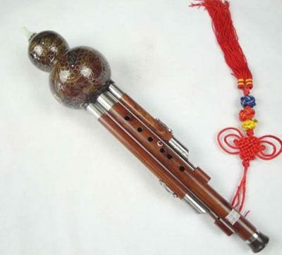 Sandalwood Cloisonne 3 Octaves Hulusi Flute Woodwind #108T + Case + How to Play