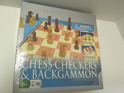 Chess, Checkers, & Backgammon Classic Games, Staunton Style Chess Pieces, NIB