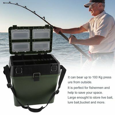 HEAVY DUTY FISHING TACKLE/TOOL BOX Live Bait Bucket W Shoulder Strap AUS