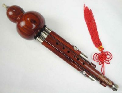 Sandalwood Cloisonne 3 Octaves Hulusi Flute Woodwind #110 + Case + How to Play
