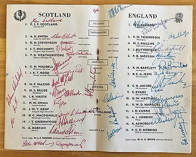 RUGBY UNION SCOTLAND V ENGLAND PROGRAMME 15th March 1958 FULLY SIGNED VG PLUS