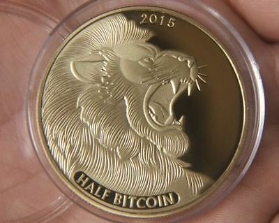 2015 year Gold Plated Bitcoin BTC 0.5 Physical Bit Coin souvenir Medal
