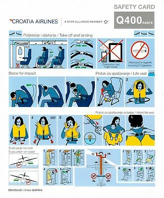 Safety Card CROATIA AIRLINES DASH8-Q400 April 2014 Star Alliance Croatian