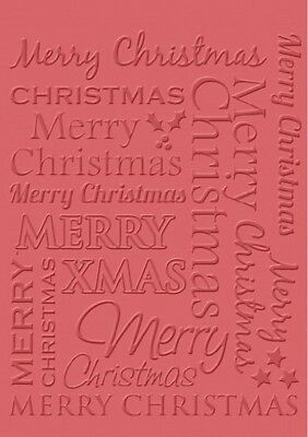 Craft Concepts MERRY CHRISTMAS A6 Card Making Scrapbook Embossing Folder