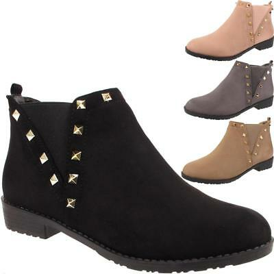New Ladies Studded Faux Suede Elastic Gusset Pull On Womens Ankle Boots Shoes UK