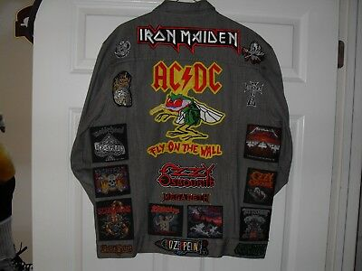 METAL LEGENDS  Tribute Jacket-GRAY LARGE....Slayer,Anthrax,Iron Maiden,ACDC,