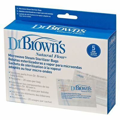 5 x Dr Brown's Options Microwave Baby Bottle Steam Steriliser Bag, Use 100 Times