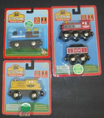 New Set of 4 Li'l Chugs Wooden Train Toys Steam & Diesel Locomotives Coal Car
