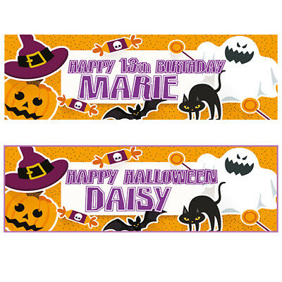 2 Personalised Happy Halloween Banners - Any Name - Any Message