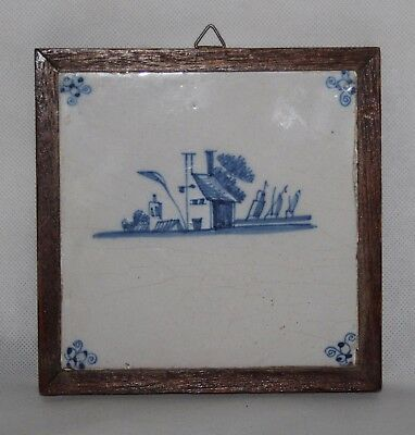17th Century Antique Dutch Delft Tile Mounted in Wooden Frame - Sailboats