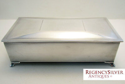 Large Solid Sterling Silver Cigarette Cigar Trinket Case Box Humidor Art Deco