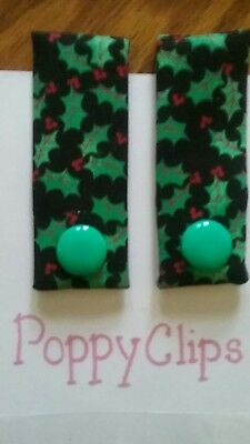 Poppy Clips Holly Berries design w/ button, accent accessory for clothing