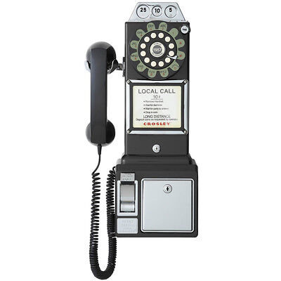 Crosley 1950's Corded Payphone w/ Push Button Dial, Wall Mountable in Black