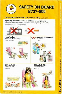 Safety Card NOK AIR Boeing 737-800 ISSUE 03 January 2015 Folder Thailand Thai