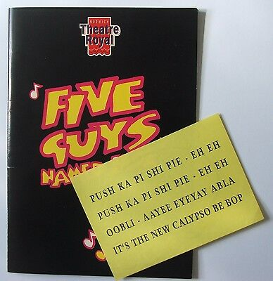 """Five Guys Named Moe"" theatre programme - partly autographed"