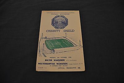 1958 FA Charity Shield Programme Bolton Wanders v Wolverhamton Wanderers Exc Con