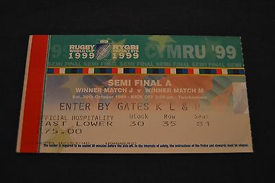 1999 Rugby World Cup Semi-Final Ticket Australia v South Africa Exc Cond.