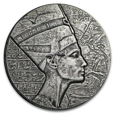 2017 Republic Of Chad Egyptian Relic Queen Nefertiti 5 oz Silver Antiqued Coin
