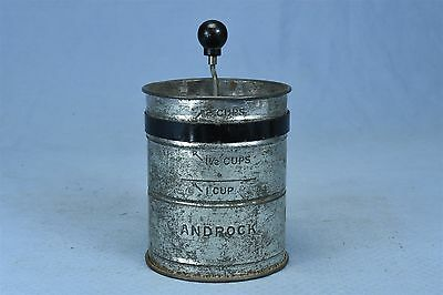 Antique ANDROCK 2 CUP FLOUR SIFTER WOOD HANDLE SIFTER KNOB TURNER INSIDE  #03446