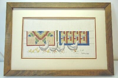 Quilts and Ducks and Ducklings Country Scene Finished Cross Stitch Framed
