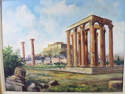 Vintage Old Greek Roman Ruins Oil Painting on Canvas -Gilt Gesso Frame- Unsigned