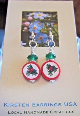 Christmas Holiday Red Green White Holly Berry Kirsten Earrings USA Handmade Gift