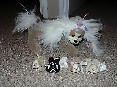 1991 Hasbro Puppy Surprise Mother with 4 Puppies Plush Set