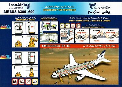 Safety Card IRANAIR Airbus A300-600 BIG SIZE A4 *VERY RARE* Iran Air