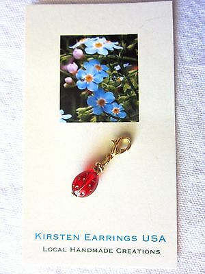 Red Gold Etched Tiny Lady Bug Charm Lobster Clasp USA Made Christmas w Gift Bag
