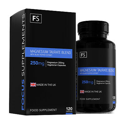 Magnesium Taurate (With added B6 & BPE) | 250mg Magnesium/Serving | 180 Capsules