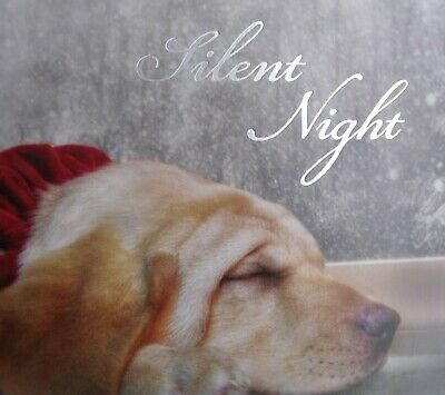 New 16 Sleepy Dog Silent Night Fully Decorated Christmas Cards & White Envelps