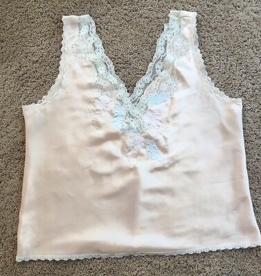 Vtg Sara Beth Pale Pink Satin & Lace Camisole
