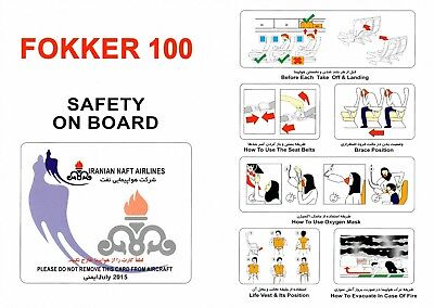 Safety Card IRANIAN NAFT AIRLINES FOKKER 100 **MINT**VERY RARE** Iran Karun