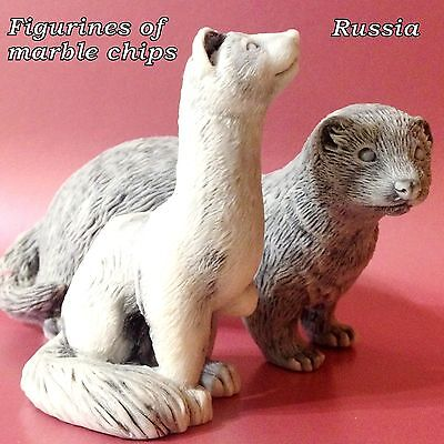 Ferrets figurines marble chips Souvenirs from Russia excellent quality Pets