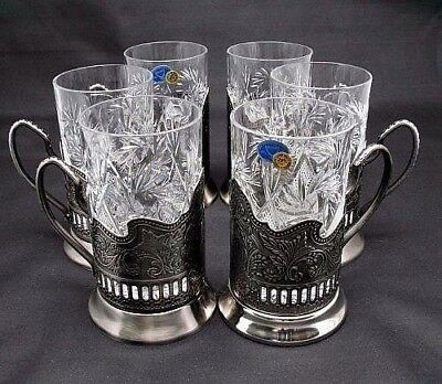 Silver Russian Crystal Tea Glass Holder Set, Vintage Podstakannik Handmade 12-pc