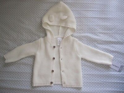 white hooded baby cardigan ,3 months, carter's with tag