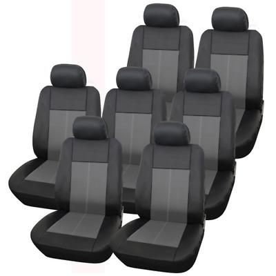 Renault Grand Scenic 14Pc Milan Premium Seat Cover Set Black / Grey
