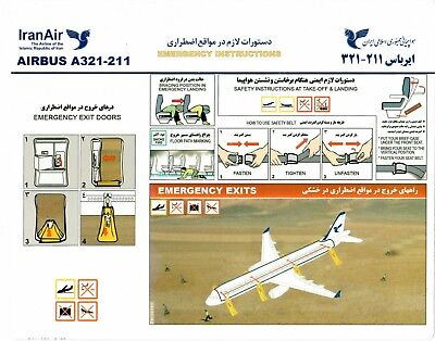 Safety Card IRANAIR Airbus A321 WITH PART NO 920-5-52 *VERY RARE* IRAN airline