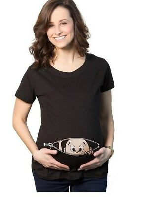 Baby Want to clim out from mom zipper Maternity T-shirt Pregnancy Funny Top New