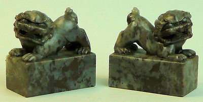 A Fine Pair Of Antique Chinese Carved Soapstone Buddhistic Temple Dogs