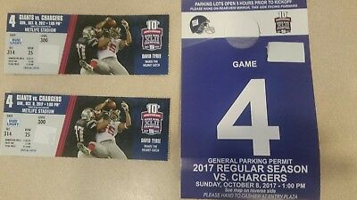NY GIANTS vs Redskins (2) TICKETS - 12/31/17  section 314 Row 25 & Parking PASS
